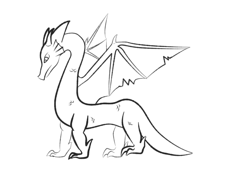 754x573 dragon outline by aesoph83594 on deviantart