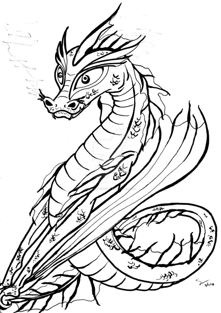751x1064 Seawater Dragon Outline By Squigglepoof