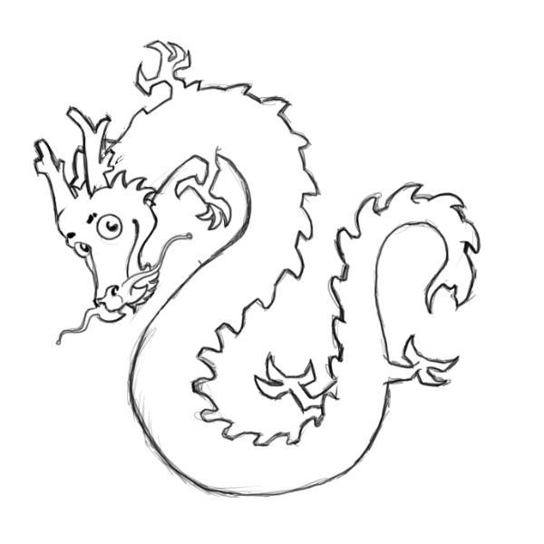 600x600 Chinese Dragon Drawing