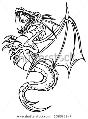 349x470 Dragon Outline Dragon Outline Stock Images Royalty Free Images