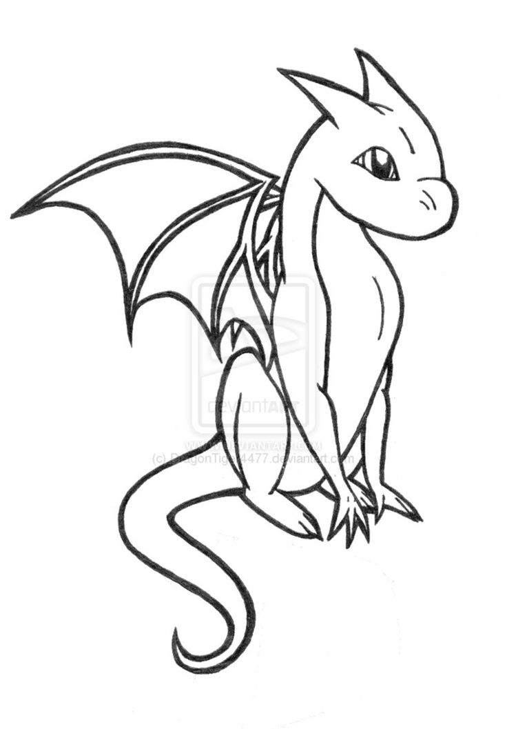 Dragon Simple Drawing At Getdrawings Com Free For Personal Use