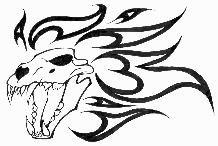 Dragon Skull Drawing At Getdrawings