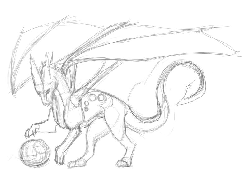 800x580 Sketch Playful Dragon By Aryia Tskaha