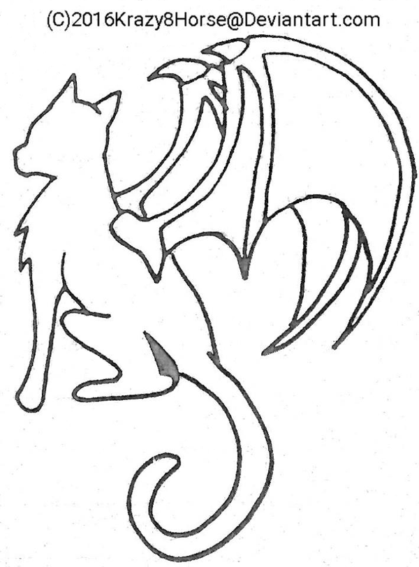 600x812 Cat with Dragon wings basecoloring page by Krazy8Horse on DeviantArt