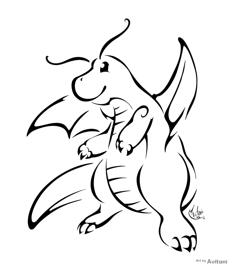 768x883 Dragonite Tribal By Avitani