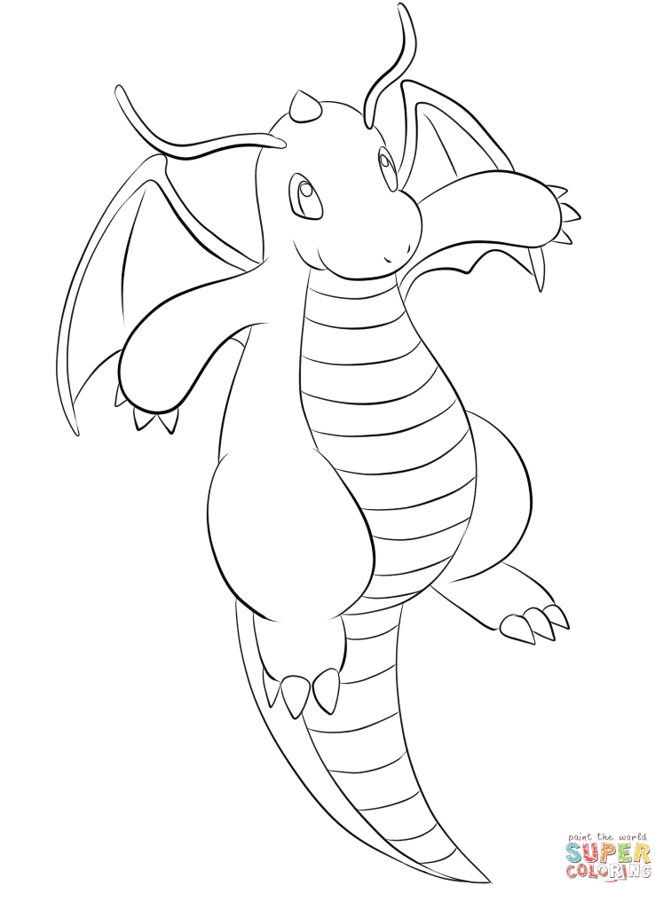 756x1016 Dragonite Coloring Page Free Printable Coloring Pages