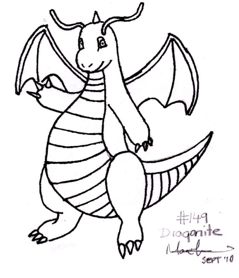 830x963 Dragonite In Black And White By Taunliam88