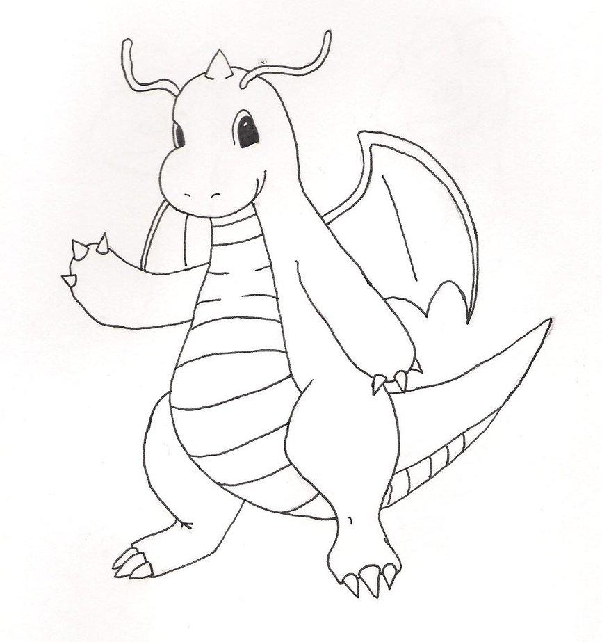 866x923 Dragonite Lineart By WizardTypist On DeviantArt
