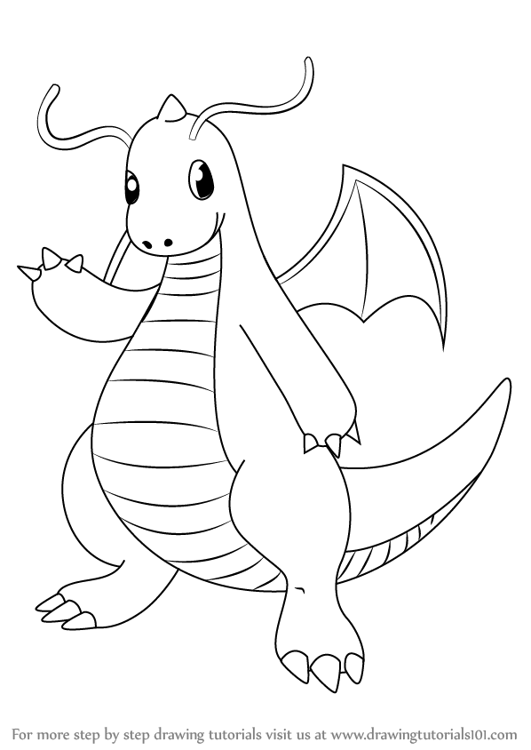 598x844 Learn How To Draw Dragonite From Pokemon (Pokemon) Step By Step