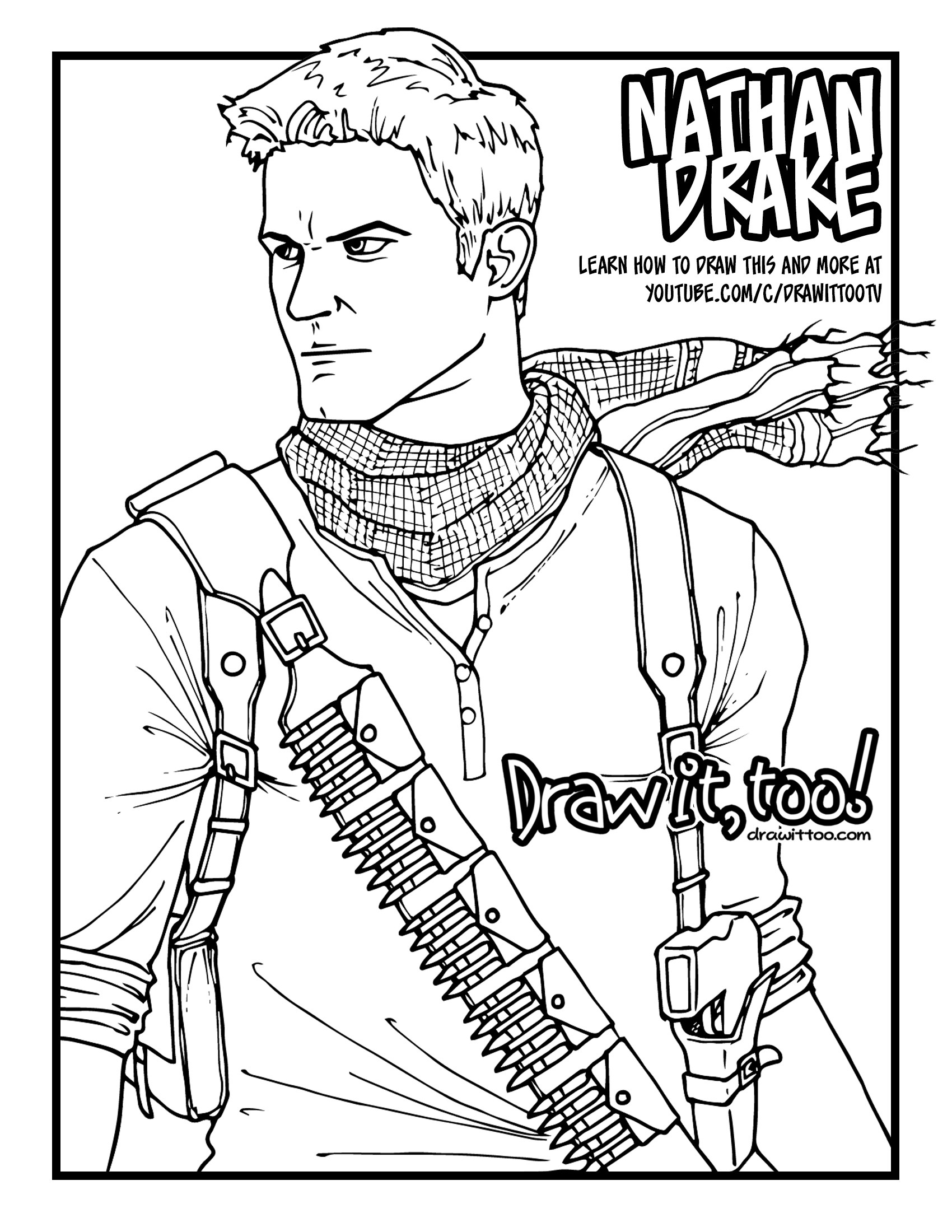 1700x2200 How To Draw Nathan Drake (Uncharted) Drawing Tutorial