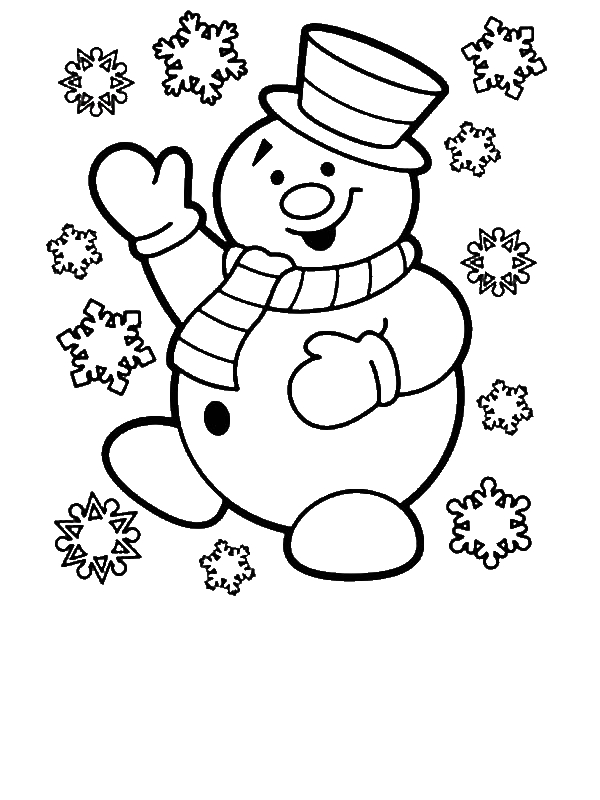600x800 drawn snowman christmas coloring page
