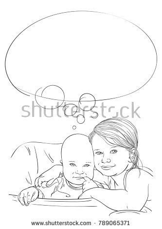 333x470 Dreaming Together, Sketch Of 5 Year Old Girl Hugging 8 Month Old