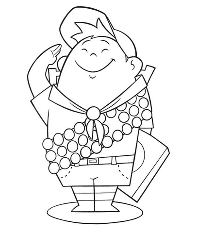 406x480 Russell, 8 Year Old Wilderness Explorer Coloring Page Free