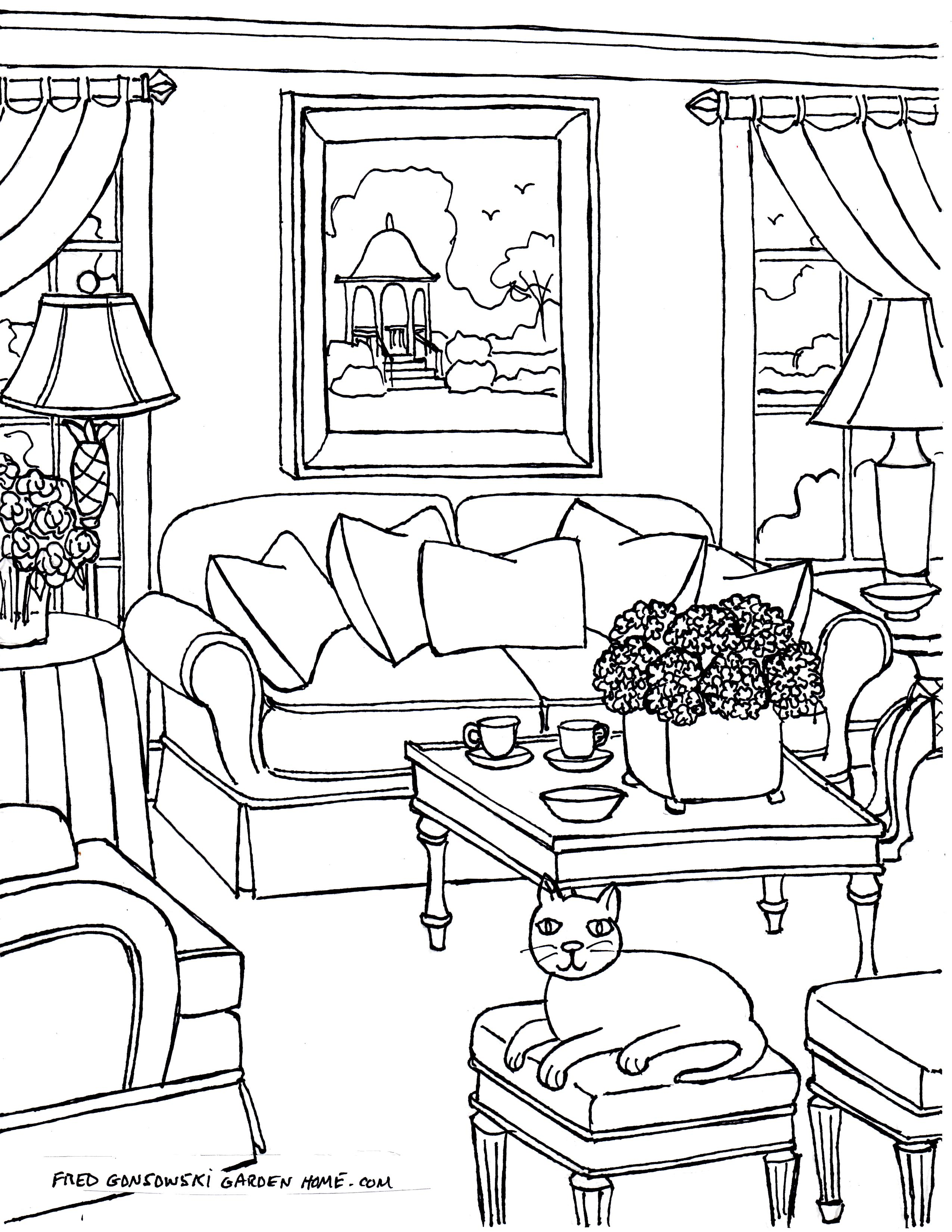 New Living Room Coloring Pages