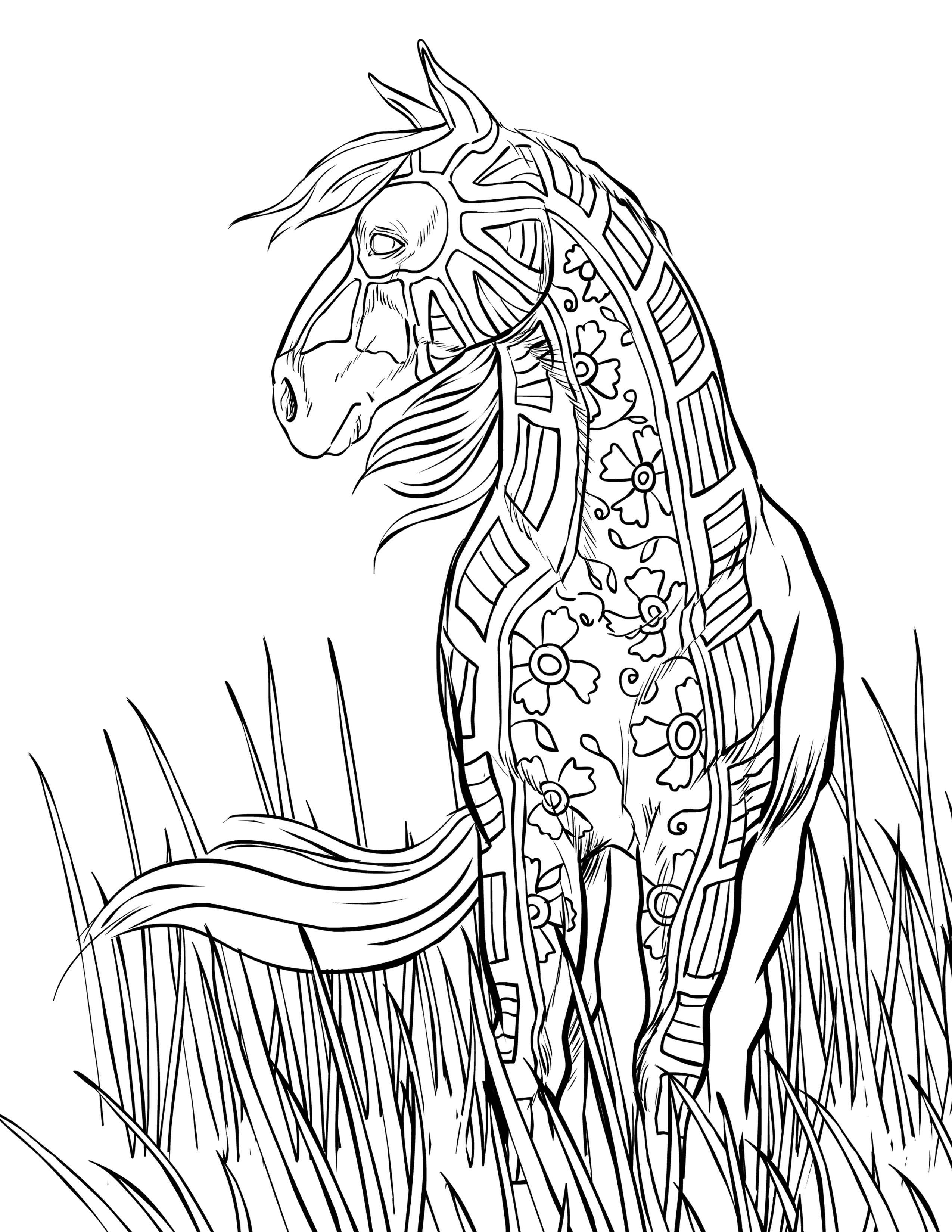 2550x3300 Horse Coloring Pages Hard Dringrames Org Printable In Tiny Draw