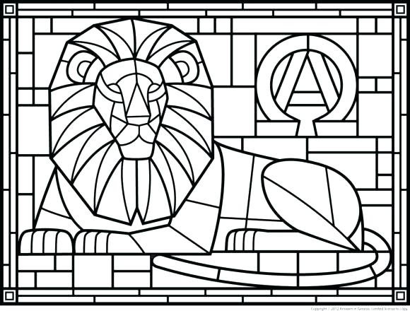 580x440 Stain Glass Coloring Pages Stained Glass Coloring Pages For Adults