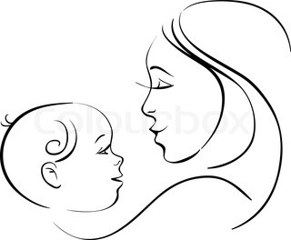 320x264 Mom And Baby Drawings Vector Of Mother And Baby Icon Woman