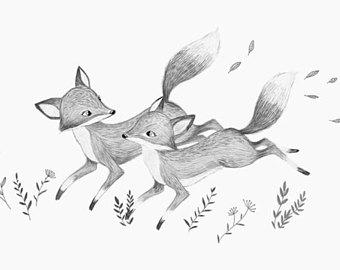 340x270 Nursery Winter Print Deer Drawing Deer Wall Art Deer