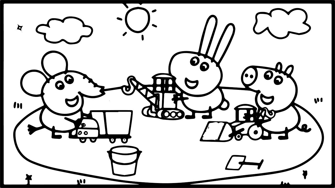 1280x720 How To Draw Peppa Pig Playground Coloring Pages Kids Drawing