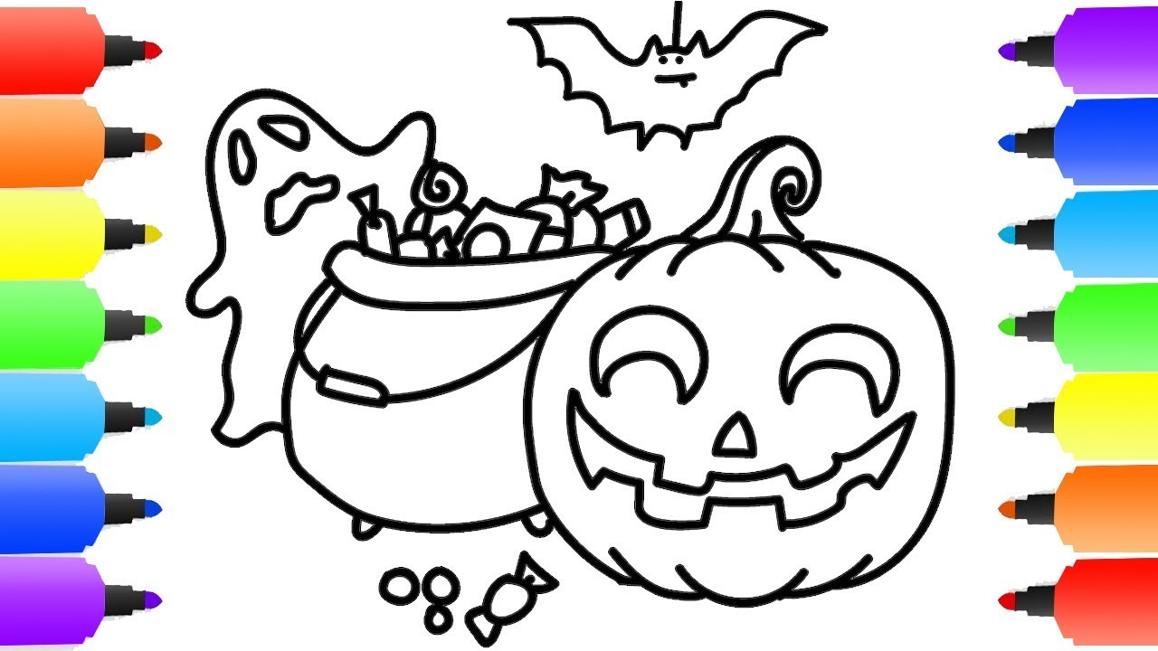 1280x720 Learn Colors With Pumpkin Halloween Coloring Pages For Kids