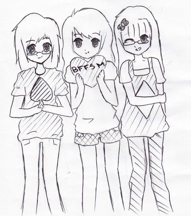 805x909 Drawing How Draw A Best Friends Forever Drawing Also How