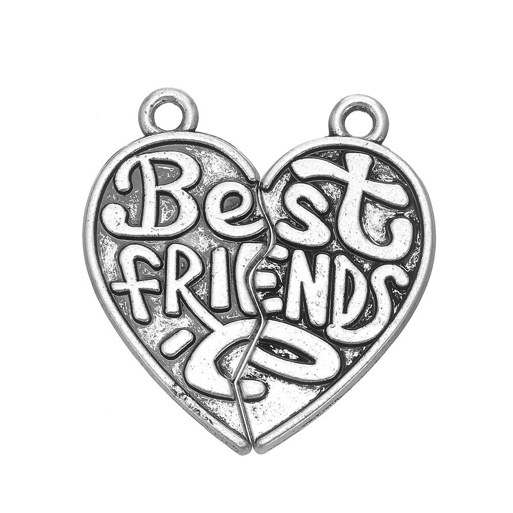1001x1001 2018 Best Friends Heart Shape Message Charm Silver Plated Metal