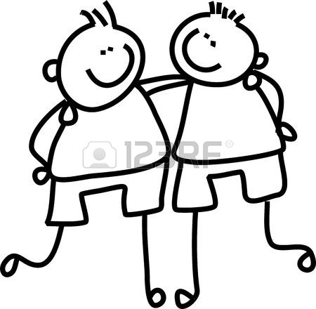 450x440 Line Drawing Of Two Little Boys Who Are Good Friends Stock Photo