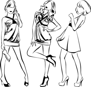 386x368 Sketch Of Fashion Girl Dress Free Vector Download (9,619 Free