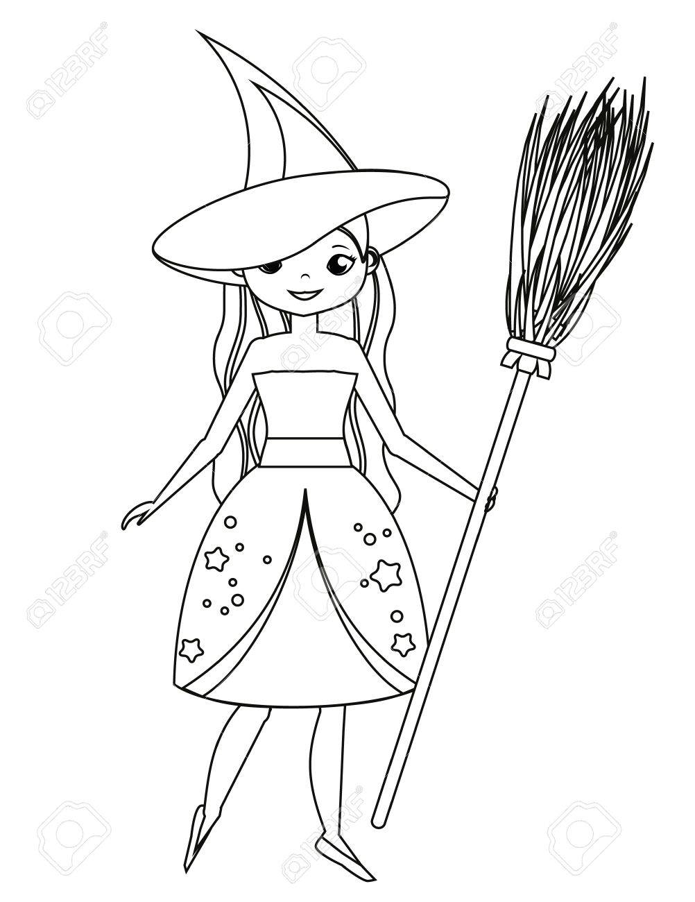 1002x1300 Coloring Page For Children. Cute Witch Holding Broom. Girl