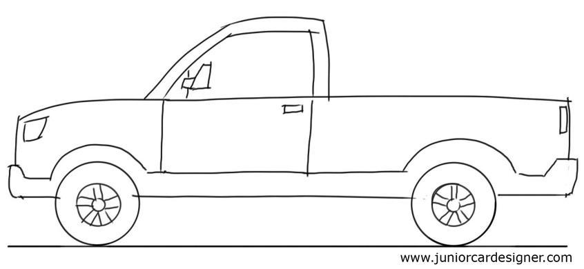 846x390 car drawing tutorial pick up truck side view junior car designer