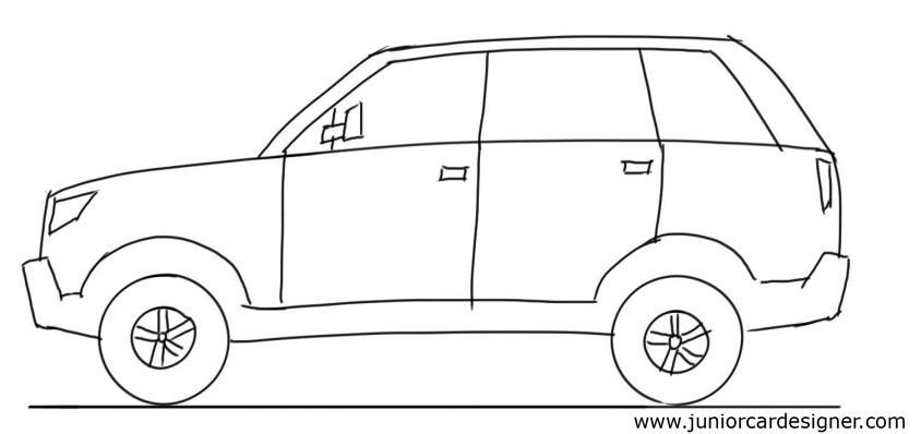 844x398 Car Drawing Tutorial SUV Side View Junior Designer