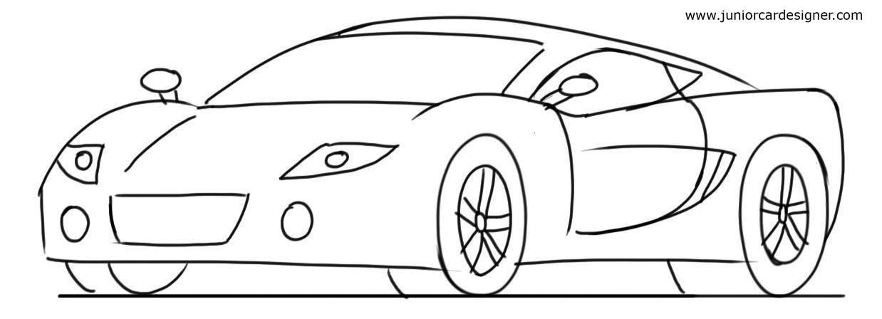1238x448 Car Drawing Tutorial Sports Cars 34 Front View Junior Car Designer
