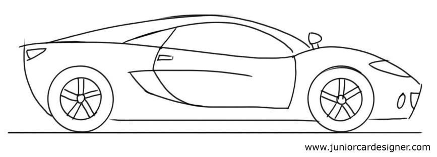 867x312 Car Drawing Tutorial For Kids Sports Car Side View Junior Car