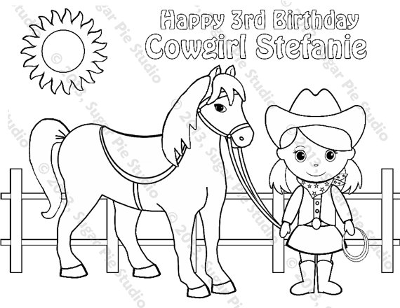 570x440 Personalized Printable Cowgirl Horse Birthday Party Favor
