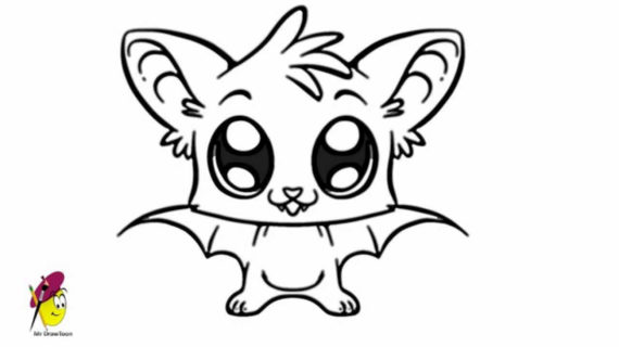 570x320 Bat Drawing For Kids Bat Cartoon