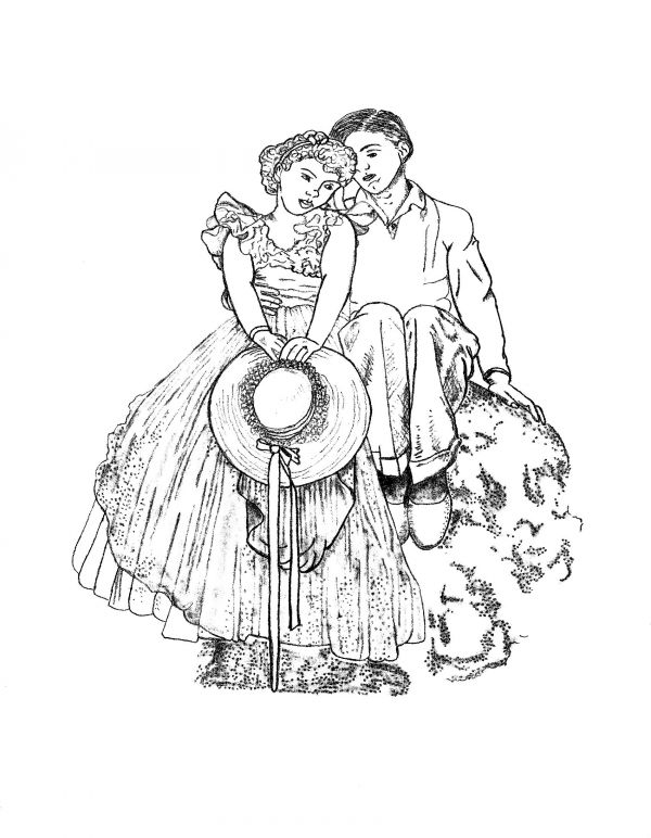 600x772 Drawing A Likeness Of Young Love By Norman Rockwell