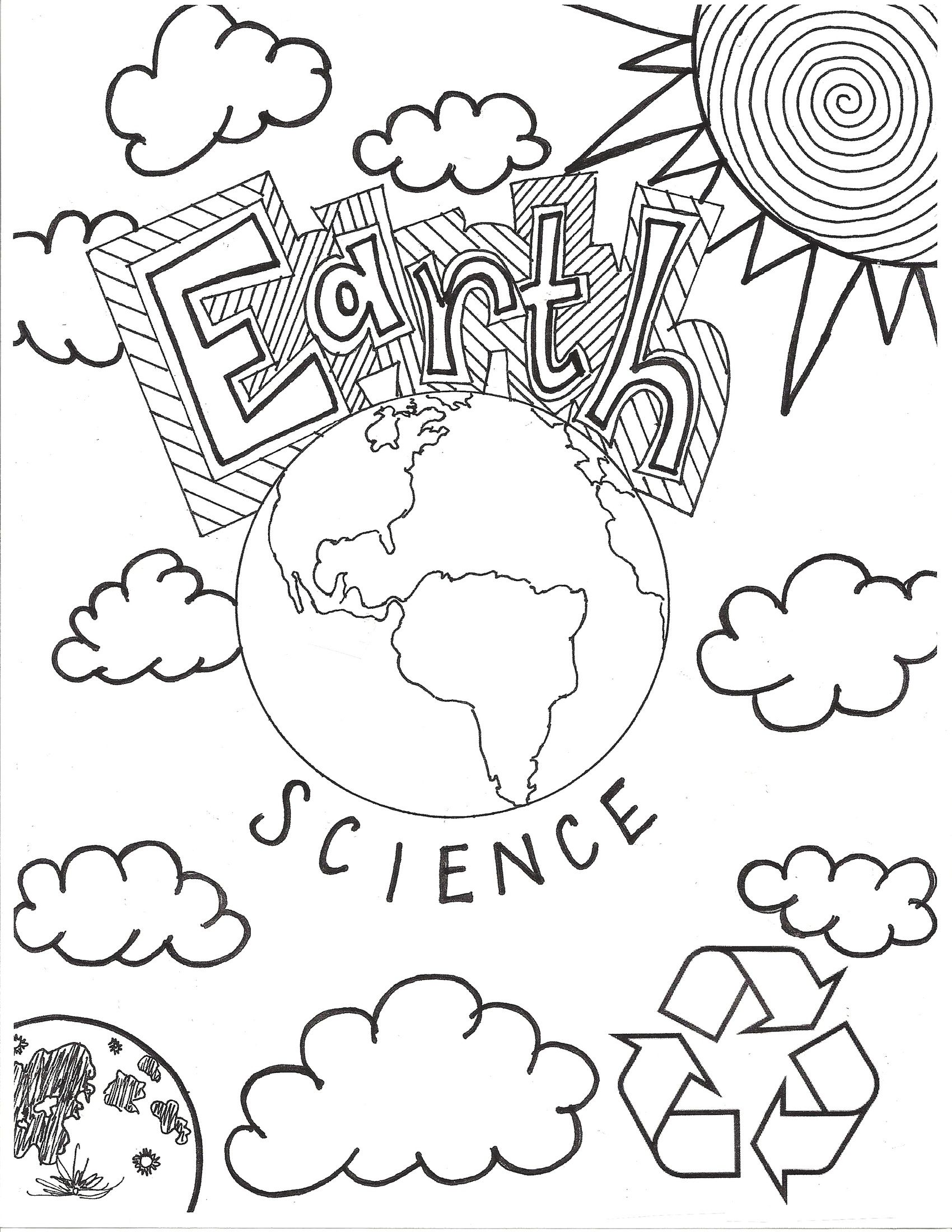 1700x2200 Earth Science Coloring Page Cover Page. Middle School Portadas