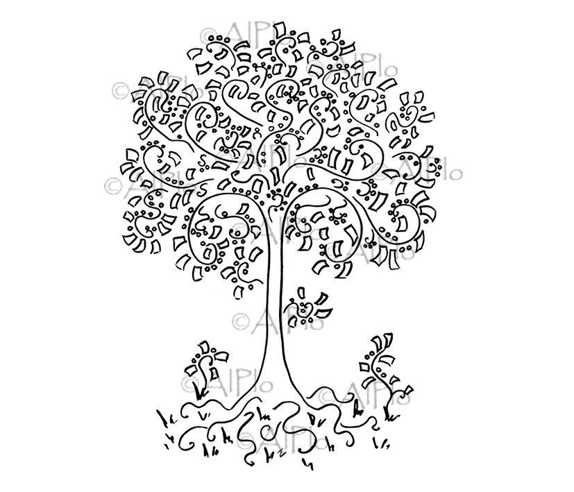 827x709 Digital Money Tree Coins Dollars Floral Landscape Drawing