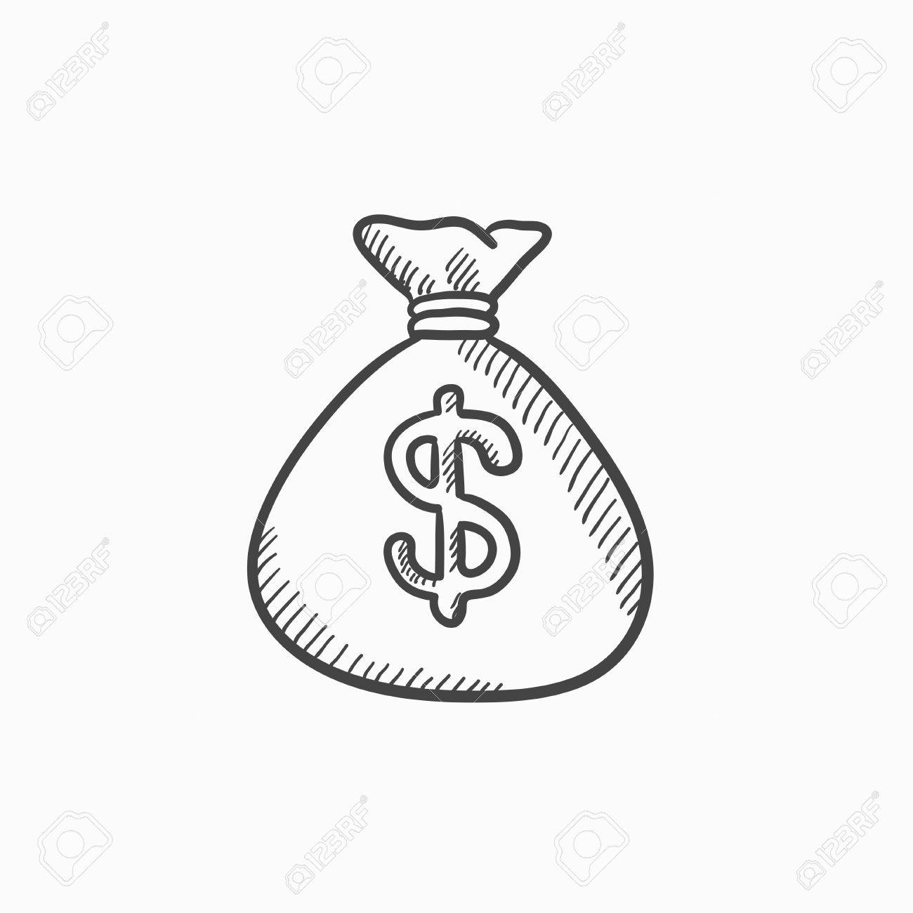 1300x1300 Money Bag Vector Sketch Icon Isolated On Background. Hand Drawn