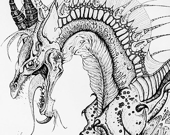 340x270 Sale Original Ink Drawing Little Monster. Creepy Phallic