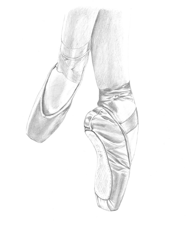 759x900 Tiptoes Pencil Drawing Original Art For Sale