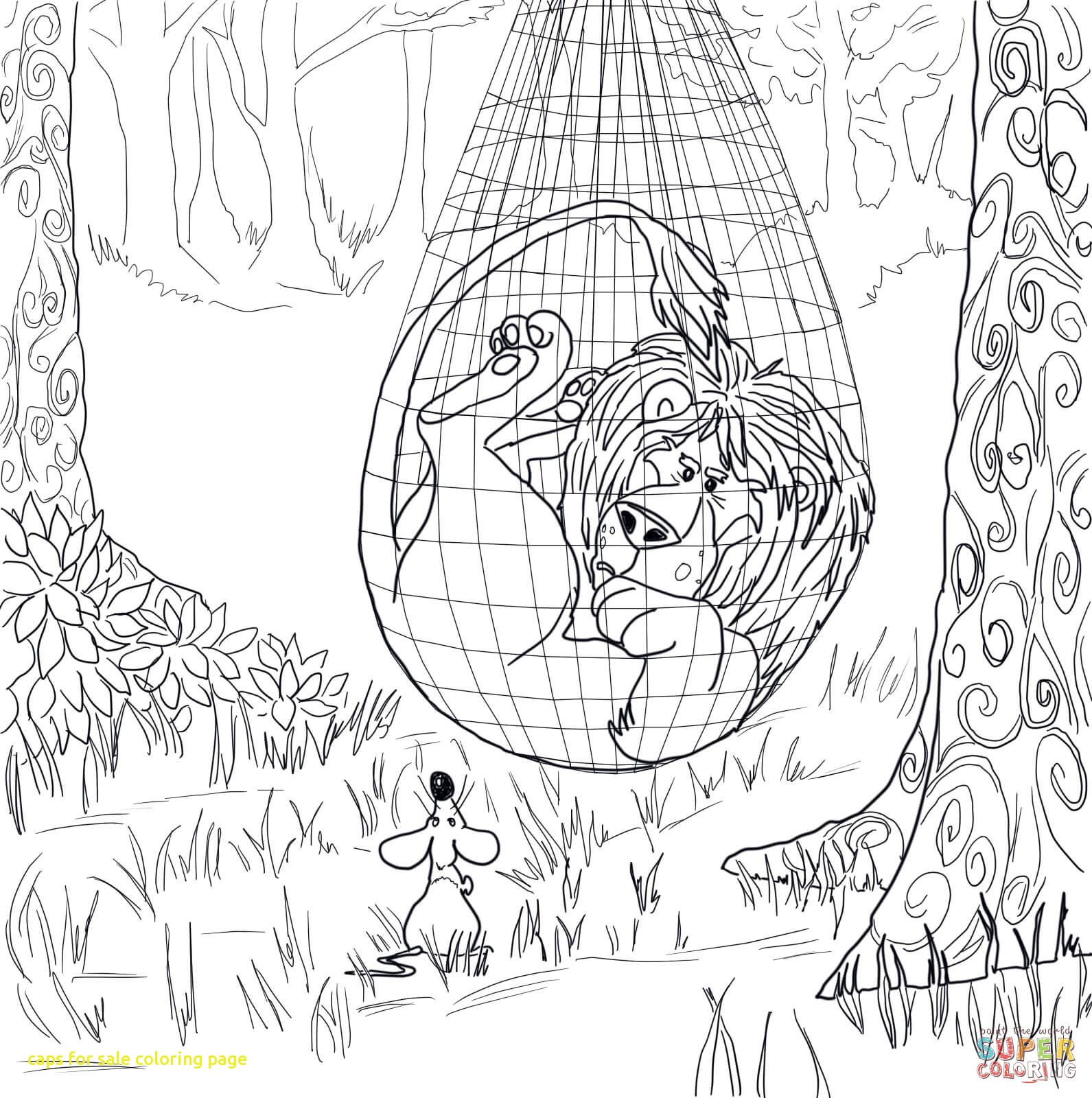 1591x1600 Caps For Sale Coloring Page With The Lion Trapped In The Net