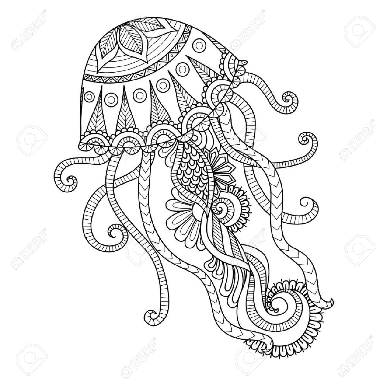 1300x1300 Hand Drawn Jellyfish Style For Coloring Page,t Shirt Design