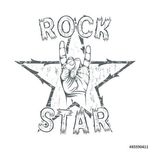 500x500 Rock Star, Print For T Shirt Graphic. Stock Image And Royalty