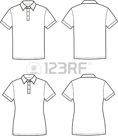 389x450 Vector Illustration Of Men S And Women S Polo T Shirts Front