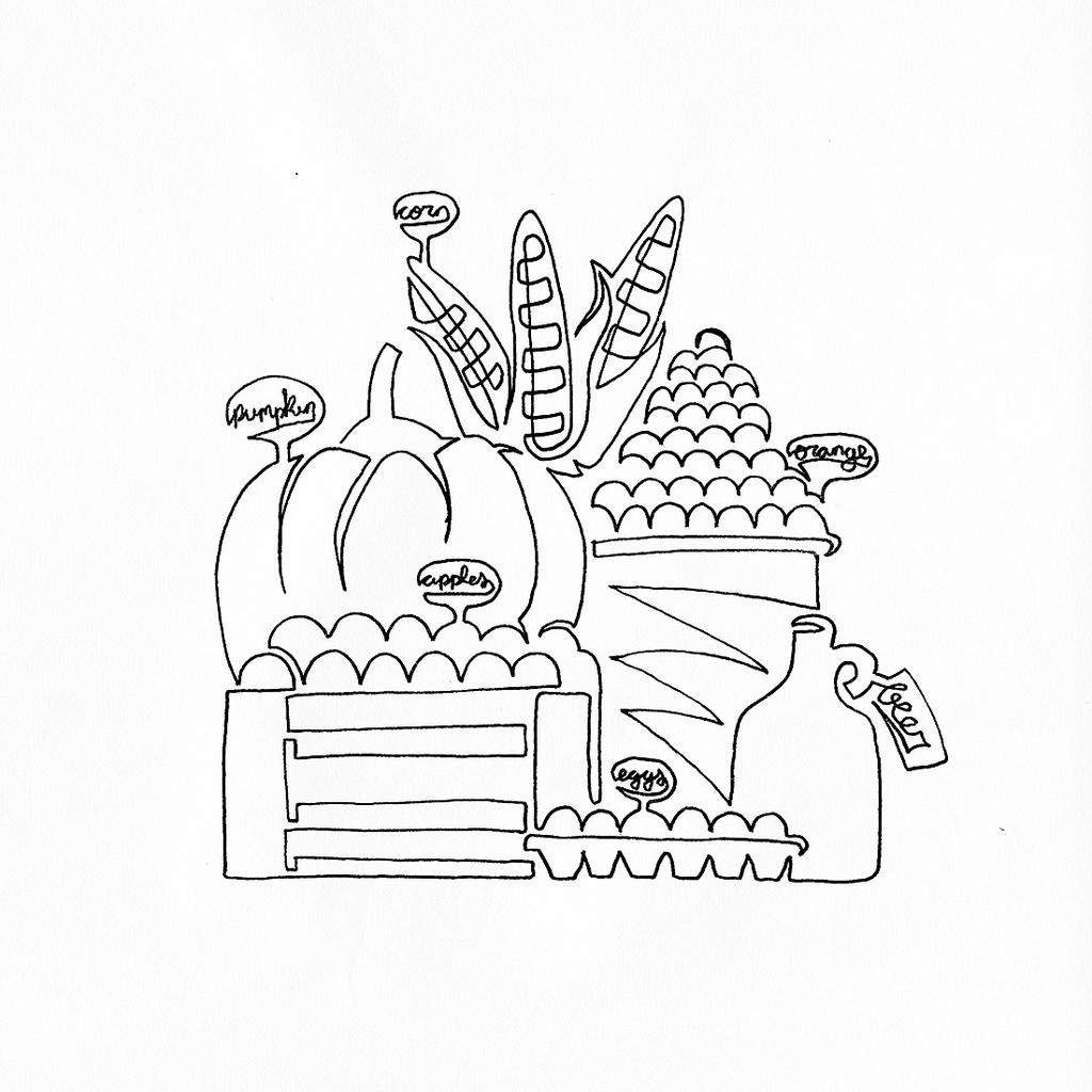 1024x1024 A Single Line Drawing For A Farmers Market T Shirt