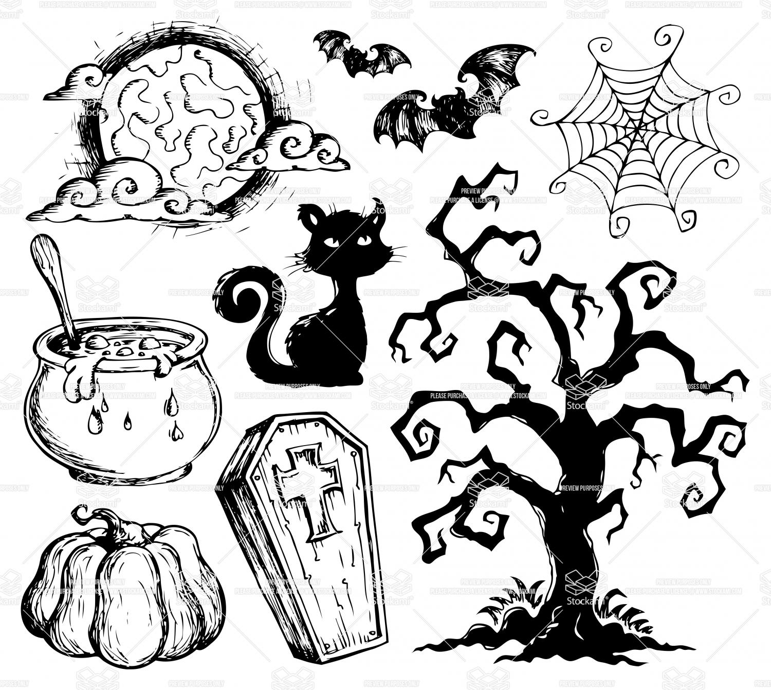 1500x1341 Wonderful Design Halloween Drawing Ideas Scary Drawings Step By