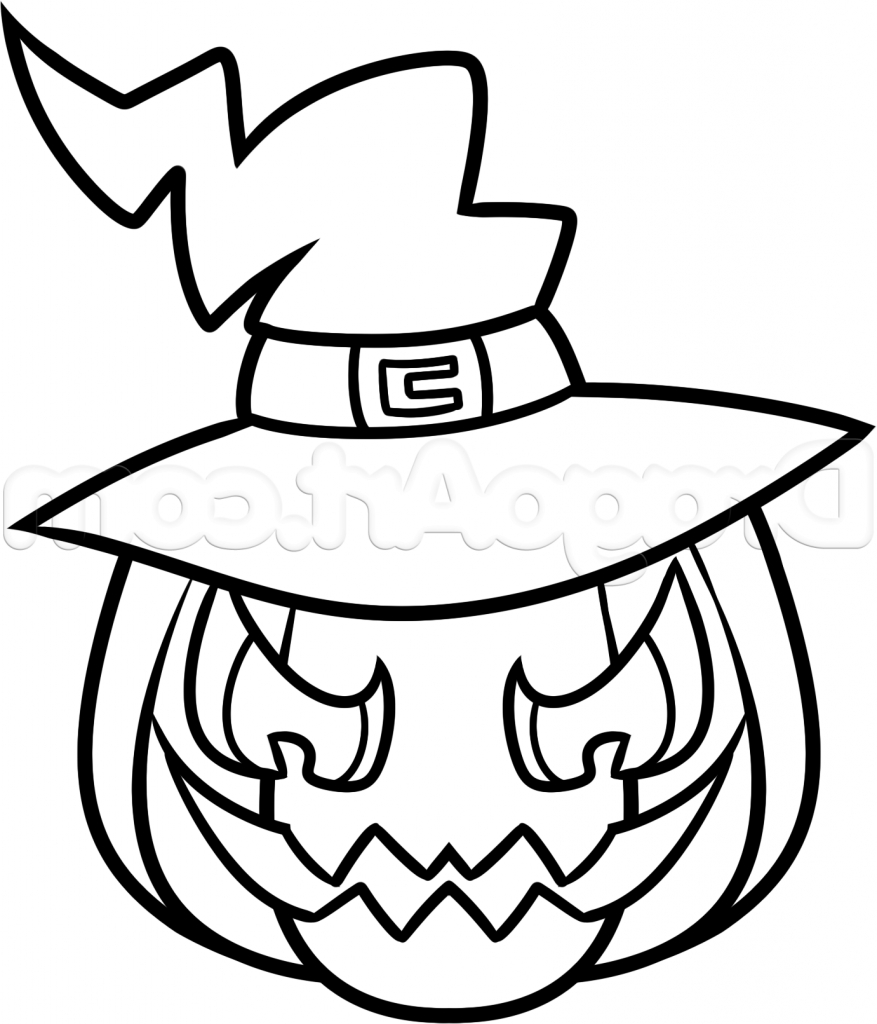 877x1024 Coloring Pages Easy Halloween Drawing Drawings Image Ideas