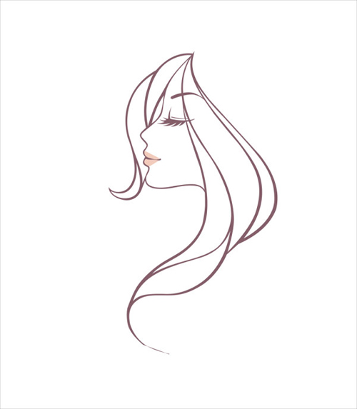 500x573 Hand Drawing Girl Head Vector Graphic