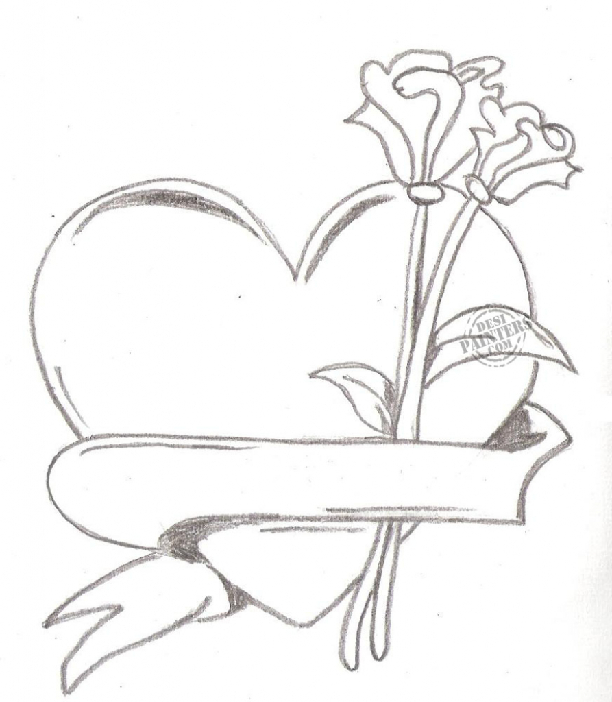 893x1024 Heart Love Drawing Sketch With Pencil I Love You Drawings